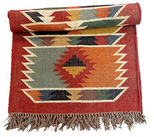 Select – Alfombra de yute de lana de yute de estilo vintage, hecha a mano, para cocina, pasillo, decoración del hogar 2x6' (60x180 CM) Rojo