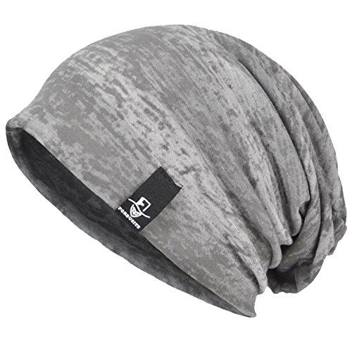 VECRY Herren Cool Slouch Mütze Dünne Sommer Schädel Hip-Hop Hüte (081-Grau)