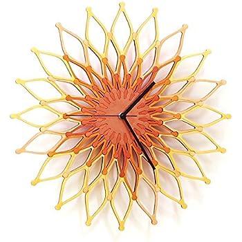 Fireworks II (花火) - 41cm銅/金色の木製のウォールクロック (L)