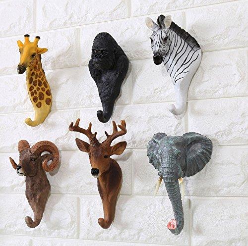 Here&There 3D Mignon Animal Patère Mural en Résine Decoration Bébé Enfant Chambre (Girafe)
