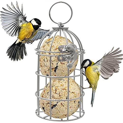 Zeqeey Comedero para pájaros pequeños colgantes de acero inoxidable, con bolas de soja de grasa para robot, para valla de arbustos, jardín al aire libre, alimentación de tetas azules, caballos, plata