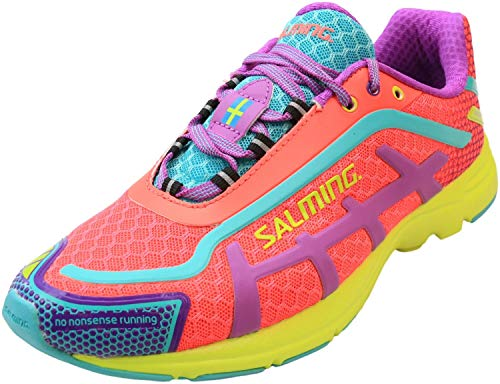 in budget affordable Salming Women's Distance D5 Natural Sneakers, Diva Pink, 8