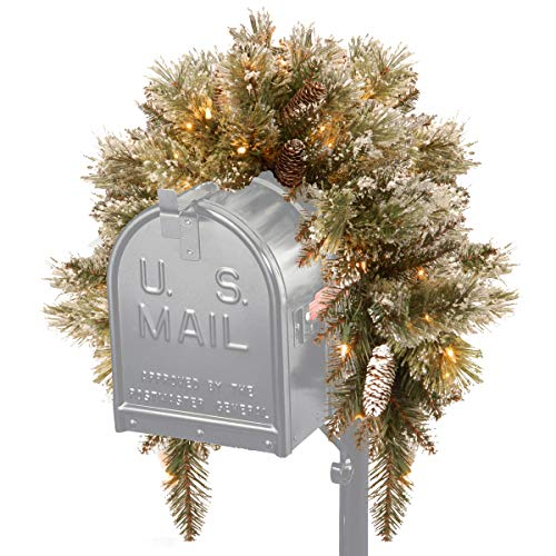National Tree 3 Foot Glittery Bristle Pine Mailbox Swag with White Tipped Cones and 35 Battery Operated Warm White LED Lights (GB3-300-3MB-B1)