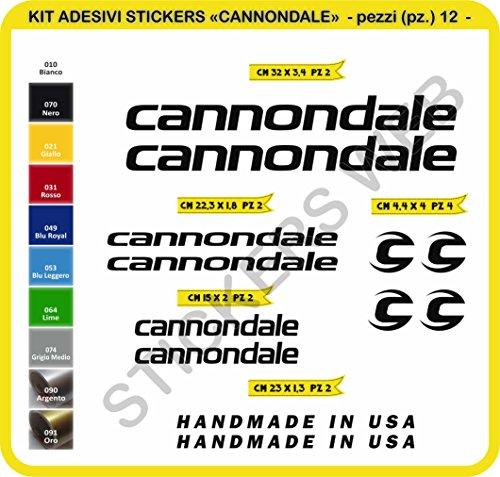 Adesivi Bici compatibili cannonda Kit Adesivi Stickers 12 Pezzi -Scegli SUBITO Colore- Bike Cycle pegatina cod.0089 (Nero cod. 070)