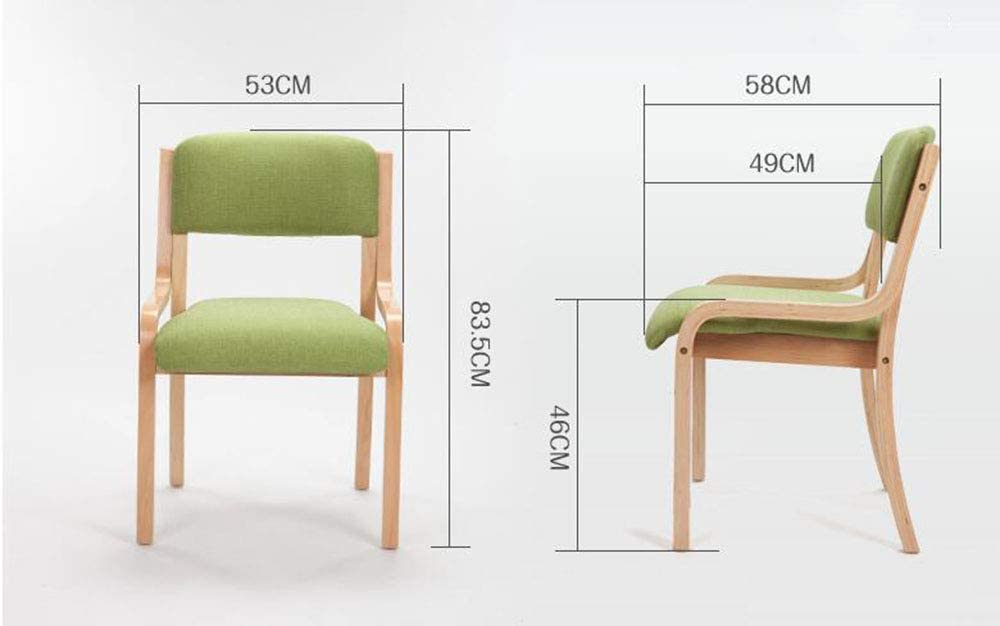 LJFYXZ Chaise de salle à manger en bois massif, Table de salle à manger simple et chaises Dossier accoudoir Chaise en bois souple Tissu 53x58x83.5m Gris Foncé