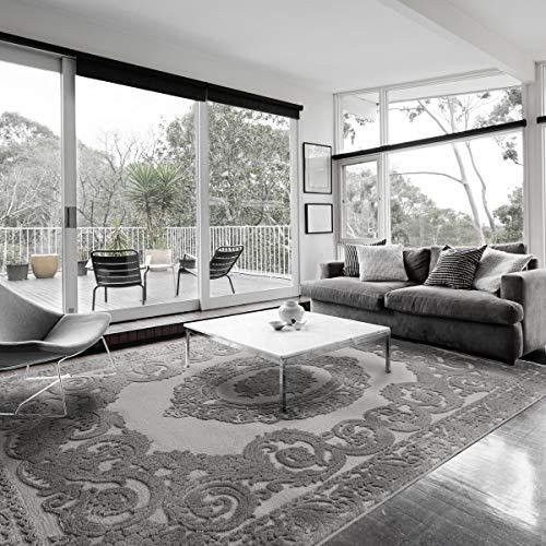 mynes Home Moderner Teppich Grau Wohnzimmer Kurzflor Velour Medaillon Design mit Öko-Tex (80 x 150 cm)