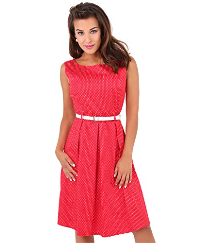 Krisp Damen 50er Jahre Vintage Kleid (Rot, Gr.42, XL) (7045-RED-14)