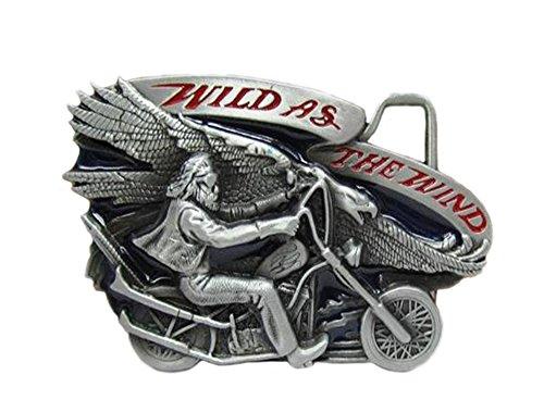 'Fibbia di Cintura, Accessori di motociclista 3d tema'Rider And Eagle''Motociclista e l' aquila' con incisione'Wild as the wind in acciaio vintage smalto rosso scuro e nero