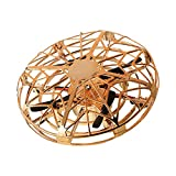 QUOXO Hand-Controlled Mini Drone for Kids, Infrared Induction Aircraft Flying Ball Quadrocopter Drone (Gold)
