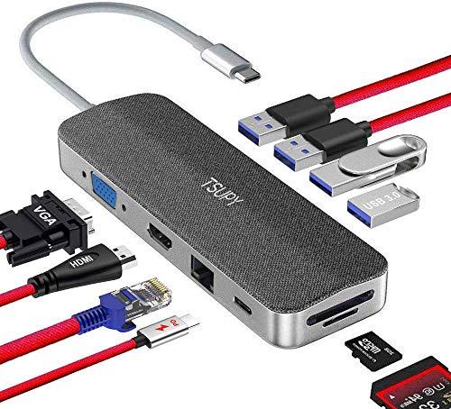 TSUPY HUB USB C,11 en 1 Thunderbolt Hub Tipo C con HDMI 4K 1080P VGA Ethernet RJ45 Carga PD Tipo C 4 Puertos USB 3.0/2.0 Lector de Tarjeta SD/TF para Mac/Mac Pro/Huawei/Samsung y más Dispositivos