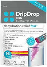 DripDrop ORS - Electrolyte Powder For Dehydration Relief Fast - For Workout, Sweating, Illness, & Travel Recovery - Watermelon, Berry, Lemon Variety Pack - 16 x 5.64 Oz Servings