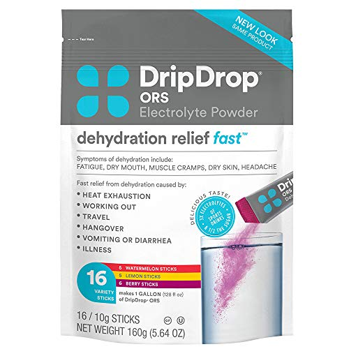 DripDrop ORS - Electrolyte Powder For Dehydration Relief Fast - For Workout, Sweating, Illness, & Travel Recovery - Watermelon, Berry, Lemon Variety Pack - 16 x 8oz Servings