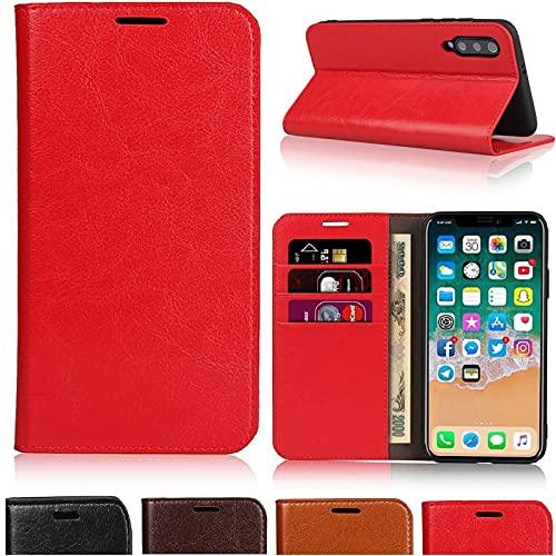 サムスン ギャラクシーA20 携帯カバー Galaxy SCV46 ケース 手帳型 サムスン ギャラクシーA20 カバー Galaxy A20 スマホケース SCV46 Jaorty牛革収納ポケットスタンド機能 耐久性 高級感大人っぽい手作り4色-レッド