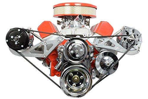 ICT Billet SBC Alternator Power Steering A/C Compressor Bracket Kit for Long Water Pump 305 327 350 383 5.0L 5.7L V8 Eight Cylinder Carburetor V Belt Compatible With Chevrolet 551745