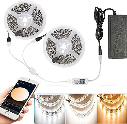 10m Bluetooth Regulable Blanco Cálido Blanco Frío CCT 2 en 1 Tira de luz LED con Fuente de Alimentación de 5 A y Controlador, 5025SMD Kit de Tira de luz Barra de luz Barra de luz, 3000k-6000k DC12V