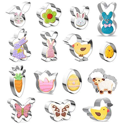 KOHMUI Moldes para galletas de Pascua, 15 unidades, juego de moldes de...