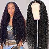 HD Lace Front Wigs Human Hair, Deep Wave Lace Frontal Human Hair Wigs for Black Women Glueless Transparent 13x4 Lace Front Wigs Human Hair Pre Plucked with Baby Hair Brazilian Virgin Hair Curly Wig