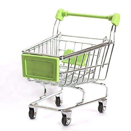 MagicW Mini Shopping Cart Supermarket Handcart Shopping Desktop Utility Cart Mode Storage Pen Cup Holder Desk Accessory Decoration Ornament Toys Green
