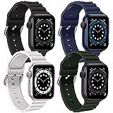 4 Pezzi Cinturino Apple Watch Compatibile con Cinturino di Ricambio in Silicone Morbido Regolabile per iWatch Series SE 6 5 4 3 2 1 38 mm 40 mm 42 mm 44 mm(Nero/Blu notte/Bianco/Verde intenso,42/44MM)