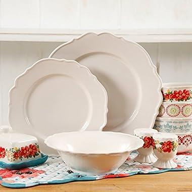 The Pioneer Woman Vintage Ruffle Linen 20-Piece Dinnerware Set (Linen)