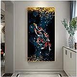FUMOJI Cuadro Koi pescado Feng Shui Carpas Lotus Estanque Arte mural moderno Salón pintado sin marco (50 x 100 cm)
