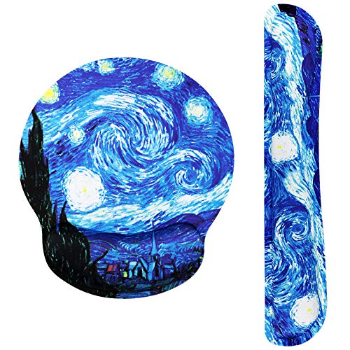 Van Gogh Starry Night Ergonomic Design Mouse Pad with Wrist Rest Hand Support and Keyboard Support. Round Large Mousing Area. Mouse Pad and Keyboard Pad for Laptop, PC Computer & Mac.