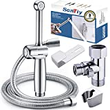 HandHeld Bidet Sprayer for Toilet,SonTiy Cloth Diaper Toilet Sprayer Bathroom Jet Spray Bidet Attachment Polished Chrome-Solid Brass-Adjustable Pressure Control for Personal Hygiene