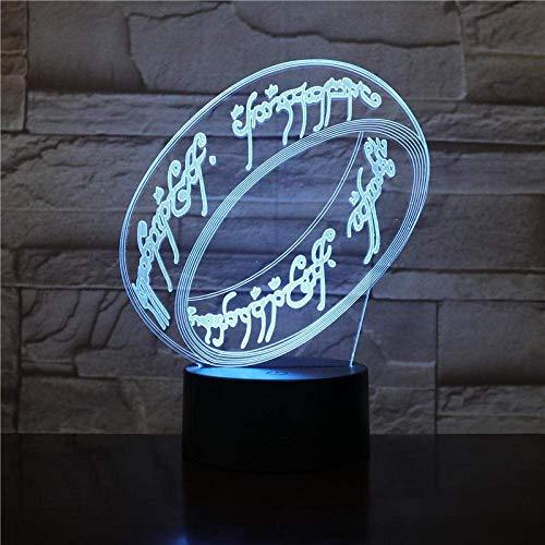 supremo señor de los anillos 3D colorido luz nocturna control remoto película anillo alrededor del rey muñeca led dormitorio niños pequeña lámpara de mesa