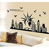 Sapdiscount Calcomanía de pared de la estatua de la libertad, con paloma volador, en la ciudad de Nueva York, para decoración del hogar, vinilo para sala