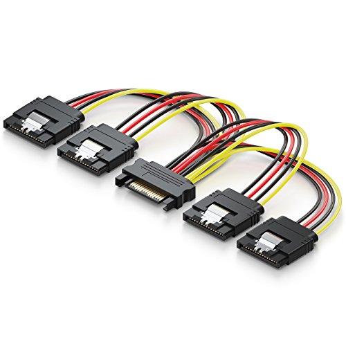deleyCON 0,15m S-ATA Strom-Adapter Y-Adapter - 1x SATA Buchse zu 4X SATA Stecker - Internes HDD SSD SATA Strom-Kabel - Bis zu 4 Geräte mit Strom versorgen - Y SATA-Stromkabel