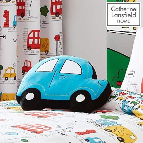 Catherine Lansfield Coussin 3D en Polyester en Forme de Voiture Couleurs Lumineuses, Tissu, coloré, Eyelet Curtains, 66 x 72 inches