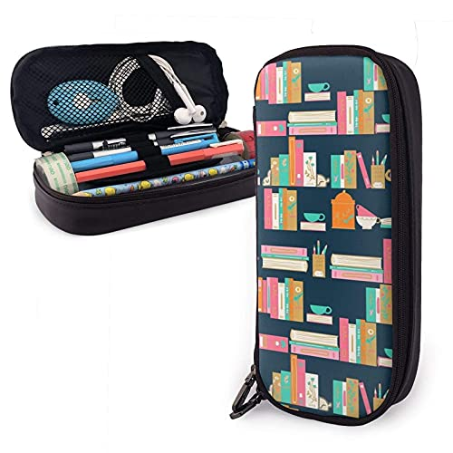 XCNGG Trousse à cosmétiques trousse à crayons Tea Books Variety Face Towel Leather Pencil Case Pouch Zippered Pen Box School Supply For Students Big Capacity Stationery Box Travel Makeup Pouch Bag