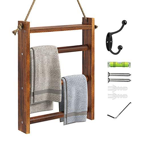Greenstell - Toallero de madera rústica para colgar en la pared, para baño, cocina, decoración de casa de campo, escalera, con cuerda y kit de colgar, color marrón