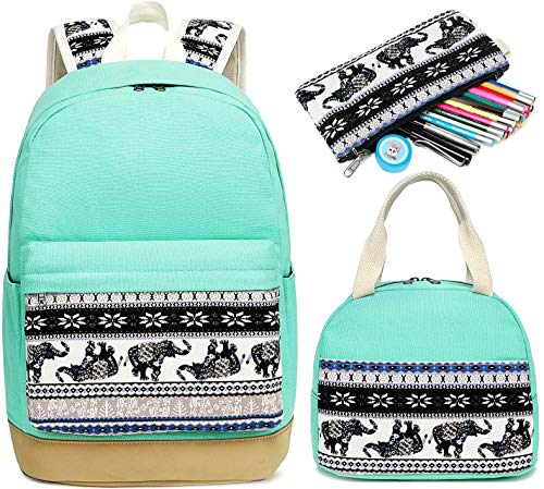 School Backpack for Girls Bookbag Set with Insulated Lunch Bag and Pencil Case School Bag for Elementary (E0060-Water Blue)