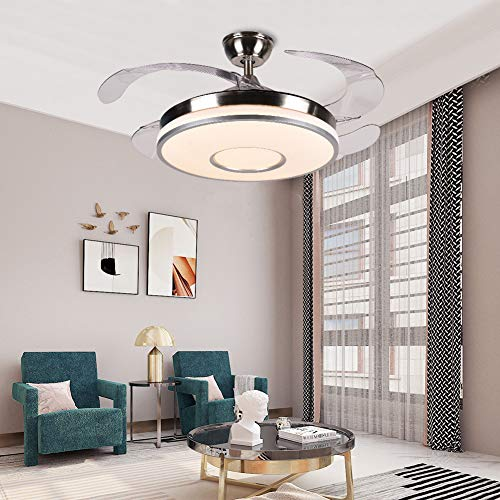 42'' Modern Ceiling Fan Light with Remote Control LED 3-Color Lighting and Retractable Invisible...