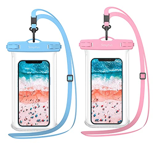 SIMPFUN Funda Impermeable para teléfono móvil de 7,0 Pulgadas (2 Unidades), Funda Impermeable IPX8, para iPhone 12/iPhone 11/iPhone 8/Samsung Galaxy S8 S9/Huawei P30/xiaomi(Rosa y Azul)