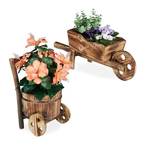 Relaxdays Pflanzschubkarre, 2er Set, flambiertes Holz, Gartendeko, Vintage Design, Blumenkarre zum Bepflanzen, Natur