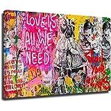 Banksy Art Love Is All We Need - Lienzo decorativo para pared (80 x 120 cm)