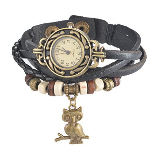 Souarts Damen Geflochten Armbunduhr Eule Anhänger Jugendliche Mädchen Armreif Uhr mit Batterie Zifferblatt Schwarz
