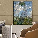 QWESFX Frau mit einem Sonnenschirm Leinwandbilder Gemälde von impressionistischen Wandkunst Leinwanddrucke Reproduktionen für Home Wall Decor (Druck ohne Rahmen) A4 50x100CM
