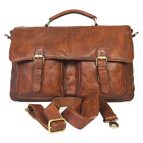 Leather Messenger Bag for Men & Women - Offie briefcase Laptop Satchel Bags (Savvy Tan Wash)