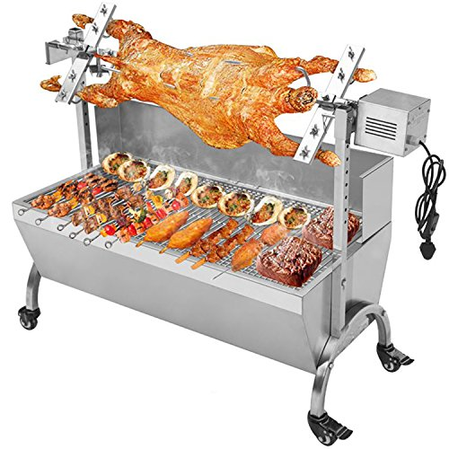 """Generic 132LBS 46.46"""" Lamb Pig Goat Charcoal Barbeque Grill Spit Rotisserie Hog Roasting Machine with Wind Shield Motor"""