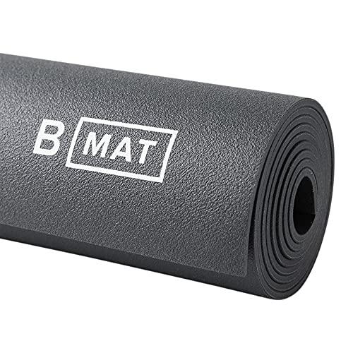 B Yoga Matte für Damen und Herren, 4 mm dick, 180,3 x 66 cm, Anthrazit – 100% Gummi, rutschfeste Bodenmatte für Yogis,...