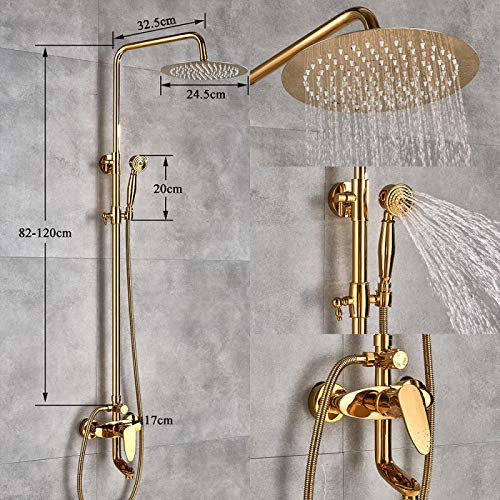 """NUGKPRT Shower,Luxury Golden Finish Dual Handle Switch Hot&Cold 8"""" Rain Showerhead Bath and Shower Faucet Set Mixer Tap Wall Mounted Golden"""
