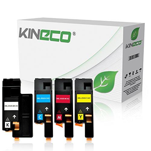 Kineco 4-Pack Toner kompatibel zu Dell E525w Multifunktionsdrucker - Schwarz 2.000 Seiten, Color je 1.400 Seiten