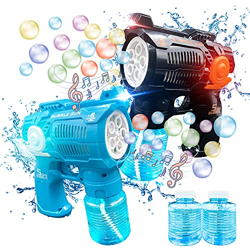 Bubble Guns for Kids, 2 Bubble Blasters, 2 Bubble Solution, Bubble Blower Toys Indoor Outdoor Activity, Party Favors, Summer Toy, Birthday Gift for Kids Boys Girls Aged 2 3 4 5 6 7 8+.