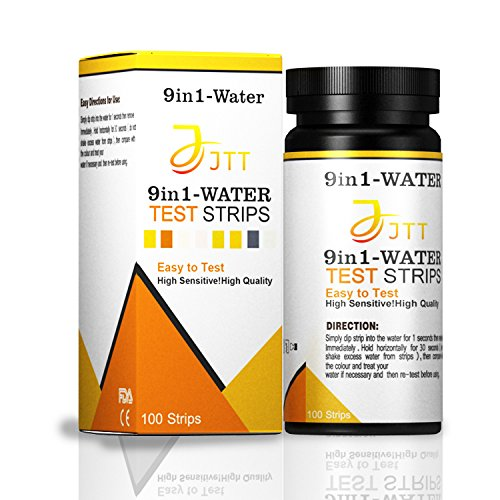 JTT 9 in 1 Water Test kit 100ct,Test for Drinking Water, Aquarium,Pool & Spa;Best Kit for Accurate Water Quality Testing,Instant Results -PH - Free Chlorine - Total Hardness + More