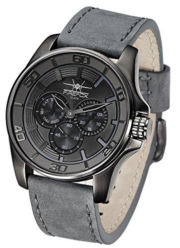 FIREFOX Herren- Armbanduhr Multifunktion analog Quarz Edelstahl schwarz- anthrazit Lederarmband grau 10 ATM wasserdicht FFSL245-102