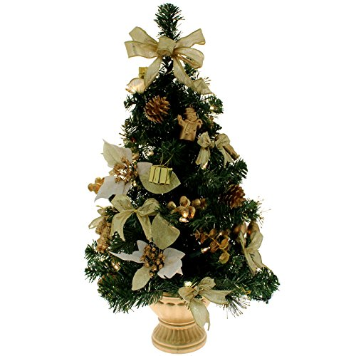 WeRChristmas Pre-Lit Decorated Christmas Tree Table Decoration, 2 feet - Gold