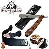 BeautyTrack Bois pur fait à la main droite rasage rasoir Shave rasoir de barbier + cuir à rasoir - Vintage kit de rasage pour homme - Une Superbe Idée de Cadeau